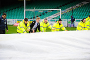 The covers being removed from the pitch before the The FA Cup third round match between Eastleigh and Bolton Wanderers at Silverlake Stadium, Ten Acres, Eastleigh, United Kingdom on 9 January 2016. Photo by Graham Hunt.