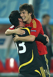 Goalkeeper of Spain Iker Casillas and David Silva celebrate victory after penalty shots at the UEFA EURO 2008 Quarter-Final soccer match between Spain and Italy at Ernst-Happel Stadium, on June 22,2008, in Wien, Austria.  (Photo by Vid Ponikvar / Sportal Images)