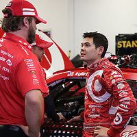 Driver Kyle Larson is seen in his garage during the  56th Annual NASCAR Daytona 500 practice session at Daytona International Speedway on Wednesday, February 19, 2014 in Daytona Beach, Florida.  (AP Photo/Alex Menendez)