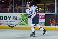KELOWNA, CANADA - OCTOBER 27: Dylan Coghlan #10 of the Tri-City Americans passes the puck against the Kelowna Rockets on October 27, 2017 at Prospera Place in Kelowna, British Columbia, Canada.  (Photo by Marissa Baecker/Shoot the Breeze)  *** Local Caption ***