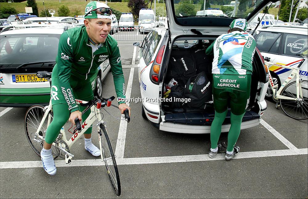 Luxembourg, 5.7.2002: Tour de France. Thor Hushovd under trening i Luxembourg. ....Foto: Daniel Sannum Lauten/Dagbladet *** Local Caption *** Hushovd,Thor