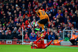 LIVERPOOL, ENGLAND - Saturday, January 28, 2017: Liverpool's Alberto Moreno in action against Wolverhampton Wanderers' Hélder Costa during the FA Cup 4th Round match at Anfield. (Pic by David Rawcliffe/Propaganda)