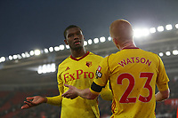 Football - 2017 / 2018 FA Cup - Fourth Round : Southampton vs. Watford<br /> <br /> Christian Kabasele of Watford gets restrained by Watford captain Ben Watson as some of the fans vent there frustration at the team at St Mary's Stadium Southampton<br /> <br /> COLORSPORT/SHAUN BOGGUST
