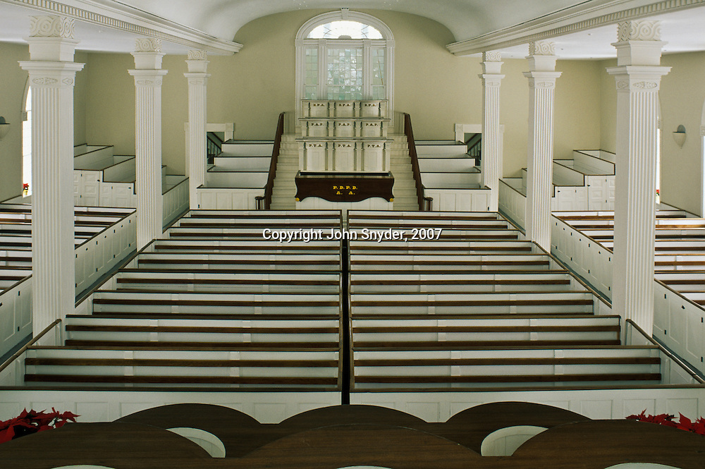 View of the main assembly hall of the Kirtland Temple; Kirtland, Ohio. The temple, completed in 1836 at great personal expense by early members of the Mormon Church (The Church of Jesus Christ of Latter-day Saints), is now owned and maintained by the Community of Christ based in Independence, Missouri.