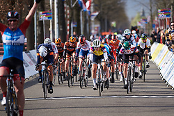 The sprint for second between Barbara Guarischi (ITA), Lotta Lepistö (FIN) and Lorena Wiebes (NED) at Healthy Ageing Tour 2019 - Stage 3, a 124 km road race starting and finishing in Musselkanaal, Netherlands on April 12, 2019. Photo by Sean Robinson/velofocus.com