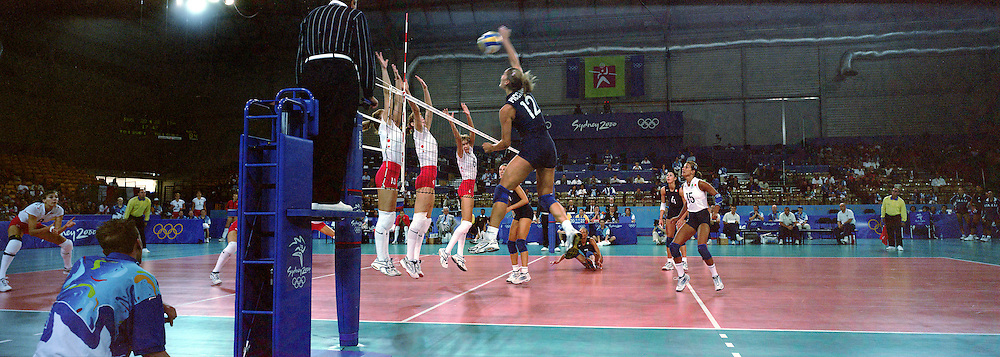 A panoramic image of Italy V Russia in the Women's Volleyball tournament at Sydney Olympic Park during the 2000 Sydney Olympic Games...Panoramic images from the Sydney Olympic Games, Sydney, Australia. 2000 . Photo Tim Clayton