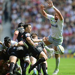 Nic White of Exeter Chiefs box kicks during the Aviva Premiership Final match between Exeter Chiefs and Saracens at Twickenham Stadium on May 26, 2018 in London, England. (Photo by Alex Davidson)