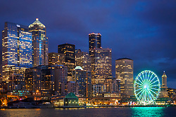 United States, Washington, Seattle, downtown skyline viewed from Elliott Bay at night