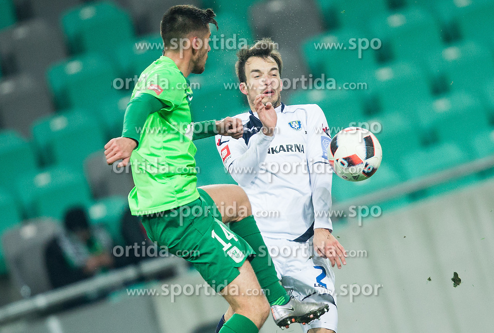 Mario Jurcevic of Olimpija vs Ziga Kous of NK Celje during football match between NK Olimpija Ljubljana and NK Celje in Round #19 of Prva liga Telekom Slovenije 2016/17, on November 30, 2016 in SRC Stozice, Ljubljana Slovenia. Photo by Vid Ponikvar / Sportida