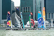 Emirates Team New Zealand line up in practice races for the first of the Extreme Sailing Series regattas being sailed in Singapore. 19/2/2014