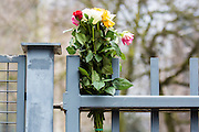 Brussels 23 March 2016 Flowers are put on a fence  near subway station maalbeek