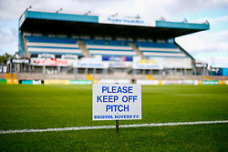 A general view of a 'Please Keep Off Pitch' sign at the Memorial Stadium  - Mandatory by-line: Ryan Hiscott/JMP - 14/08/2018 - FOOTBALL - Memorial Stadium - Bristol, England - Bristol Rovers v Crawley Town - Carabao Cup