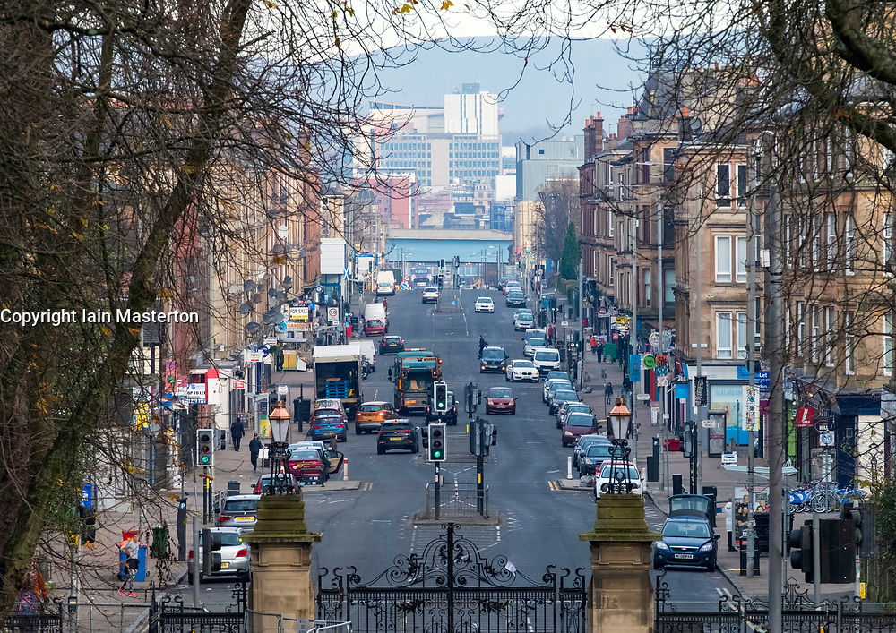 View along main artery of Victoria Road in Govanhill district of Glasgow, Scotland, United Kingdom