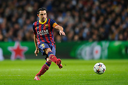 Barcelona Midfielder Xavi (ESP) in action - Photo mandatory by-line: Rogan Thomson/JMP - Tel: 07966 386802 - 18/02/2014 - SPORT - FOOTBALL - Etihad Stadium, Manchester - Manchester City v Barcelona - UEFA Champions League, Round of 16, First leg.