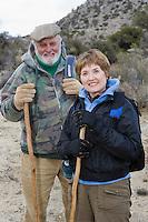 Senior couple hiking, portrait
