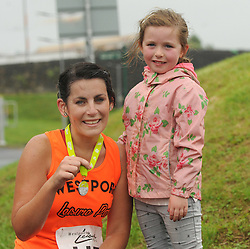Helena Duffy is congratulated by her niece Chloe Monaghan after competing in Westport Leisure Park's 'Last One Running' on saturday last.<br />Pic Conor McKeown