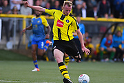 Mark Beck of Harrogate Town (9) shapes to shoot during the Vanarama National League match between Harrogate Town and Solihull Moors at Wetherby Road, Harrogate, United Kingdom on 25 August 2018.