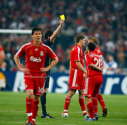 Athens, Greece - Wednesday, May 23, 2007: Liverpool's Javier Mascherano gets booked by referee Fandel Herbert after a fer tackle on AC Milan's Kaka during the UEFA Champions League Final at the OACA Spyro Louis Olympic Stadium. (Pic by David Rawcliffe/Propaganda)
