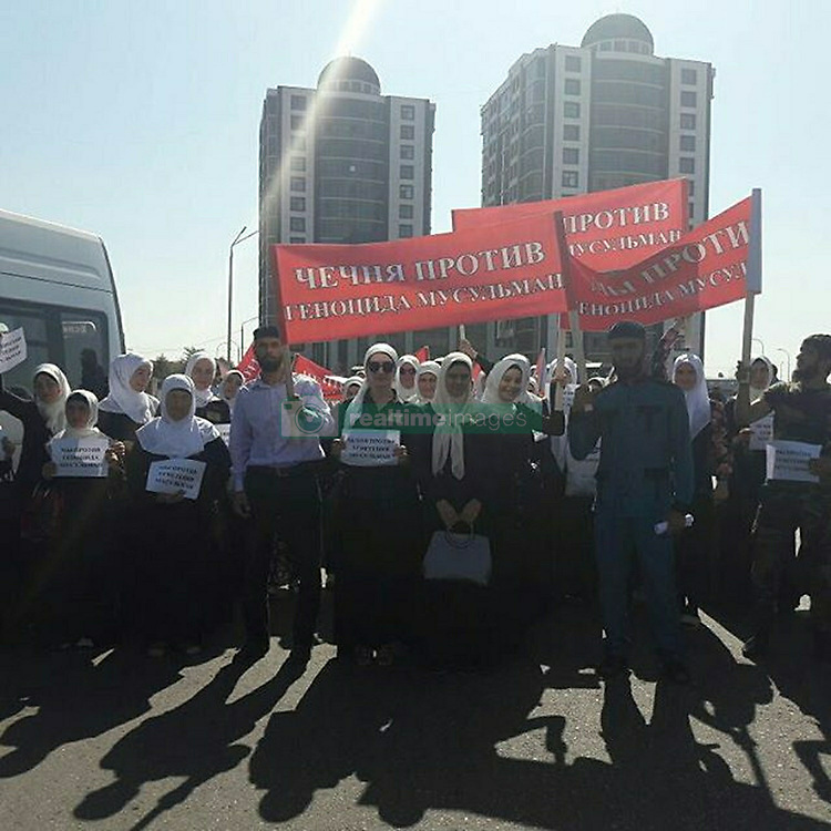September 4, 2017 - Grozny, Chechen Republic, Russia - September 4, 2017. - Russia, Chechen Republic, Grozny. - Muslims rally in Grozny's Akhmat Kadyrov Square in support of their fellow believers in Myanmar where the late August escalation in the conflict between Muslims and Buddhists has claimed more than 400 lives. Photo: instagram.com/udo_gudermes_bilimhanova (Credit Image: © Russian Look via ZUMA Wire)