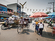 25 APRIL 2014 - MAE SAI, CHIANG RAI, THAILAND: A street scene in Mae Sai, Thailand, which borders Myanmar. PHOTO BY JACK KURTZ