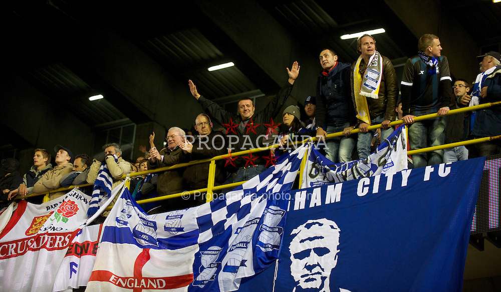 BRUGES, BELGIUM - Thursday, October 20, 2011: Birmingham City supporters during the UEFA Europa League Group H match against Club Brugge at the Jan Breydelstadion. (Pic by David Rawcliffe/Propaganda)