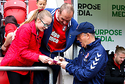 Middlesbrough manager Tony Pulis sings an autograph for a young Rotherham United fan - Mandatory by-line: Ryan Crockett/JMP - 05/05/2019 - FOOTBALL - Aesseal New York Stadium - Rotherham, England - Rotherham United v Middlesbrough - Sky Bet Championship