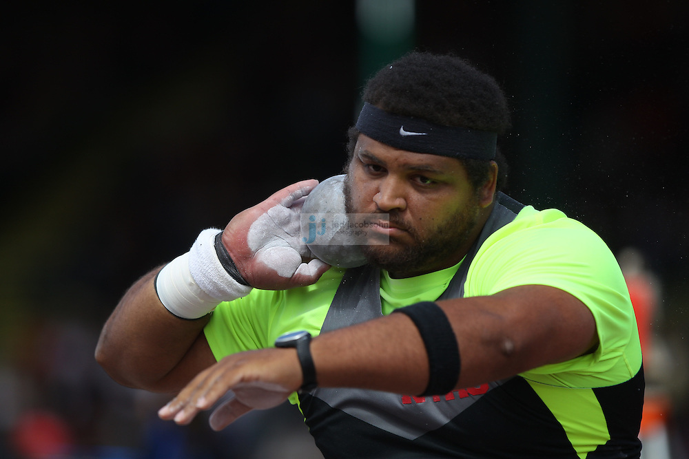 Reese Hoffa prepares to throw during the shot put finals during day 3 of the U.S. Olympic Trials for Track & Field at Hayward Field in Eugene, Oregon, USA 24 Jun 2012..(Jed Jacobsohn/for The New York Times)....