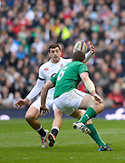Twickenham Great Britain.  England Jonny MAY, draws the bouncing ball in as Peter O'MAHONY closes, during the 2014 RBS Six Nations Rugby; England vs Ireland. Saturday  22/02/2014  [Mandatory Credit; Peter Spurrier/Intersport-images]