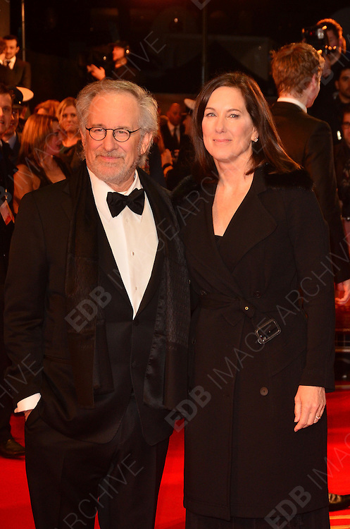 08.JANUARY.2012. LONDON<br /> <br /> STEVEN SPIELBERG AND KATHLEEN KENNEDY ARRIVES AT THE WAR HORSE PREMIERE HELD AT THE ODEON LEICESTER SQUARE IN LONDON.<br /> <br /> BYLINE: EDBIMAGEARCHIVE.COM<br /> <br /> *THIS IMAGE IS STRICTLY FOR UK NEWSPAPERS AND MAGAZINES ONLY*<br /> *FOR WORLD WIDE SALES AND WEB USE PLEASE CONTACT EDBIMAGEARCHIVE - 0208 954 5968*