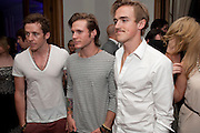 Danny Jones; Dougie Poynter; Tom Fletcher; McFly, Piccadilly theatre's Ghost The Musical Opening night party. Corinthia Hotel. Whitehall Place. London. 19 July 2011. <br /> <br />  , -DO NOT ARCHIVE-© Copyright Photograph by Dafydd Jones. 248 Clapham Rd. London SW9 0PZ. Tel 0207 820 0771. www.dafjones.com.