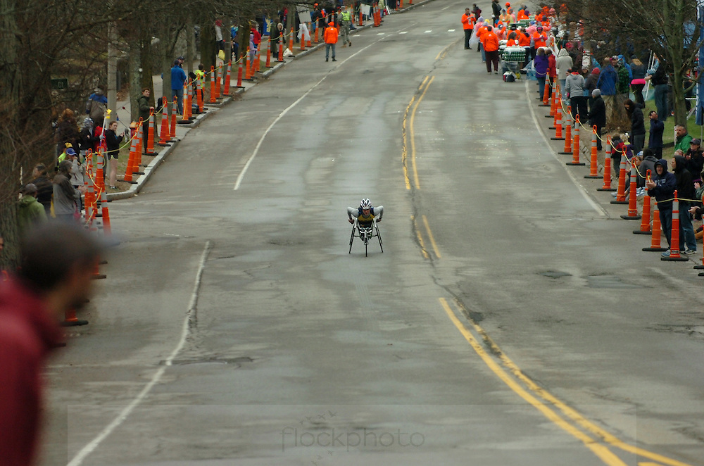 Tatyana McFadden, of Clarksville, MD, starts the ascent up Heartbreak Hill in Newton during the 119th running of the Boston Marathon, April 20, 2015. McFadden would go on to win the women's wheelchair division with a time of 1:52:54.