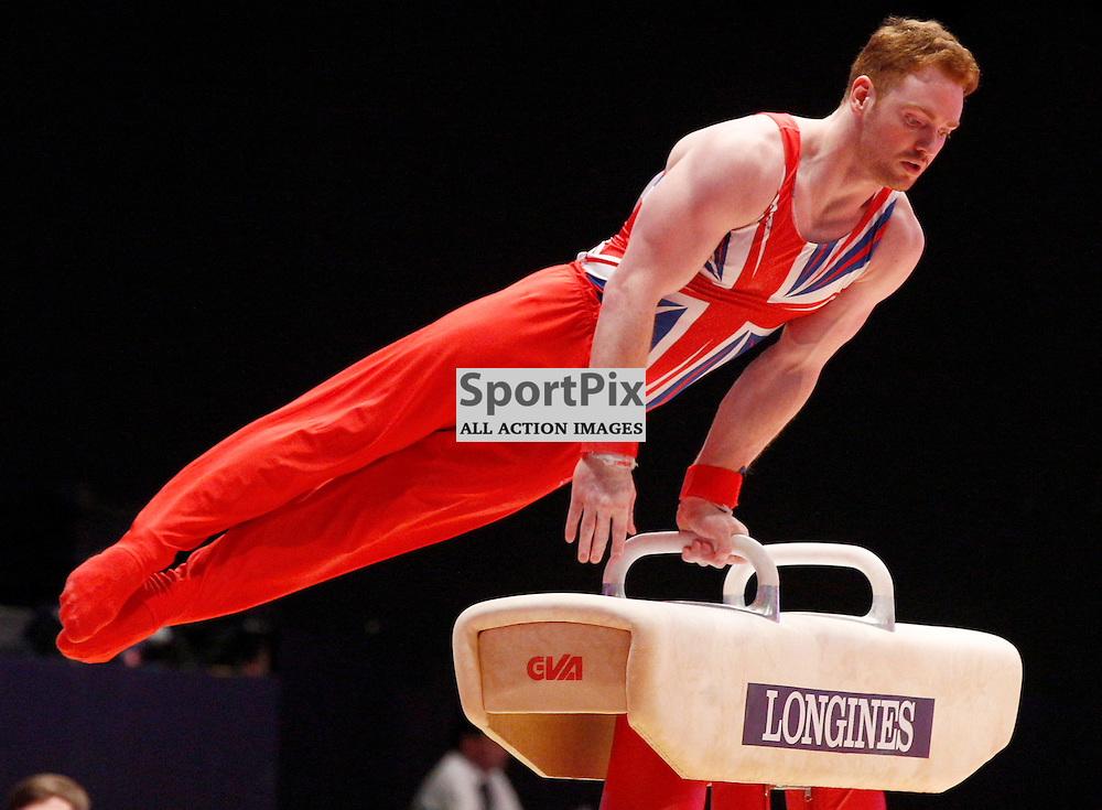2015 Artistic Gymnastics World Championships being held in Glasgow from 23rd October to 1st November 2015.....Daniel Purves (Great Britain) competing in the Pommel Horse competition..(c) STEPHEN LAWSON | SportPix.org.uk