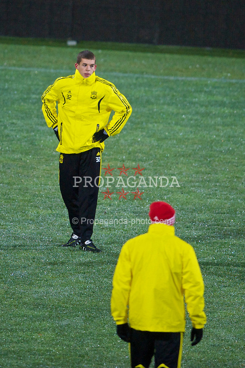 BUCHAREST, ROMANIA - Wednesday, December 1, 2010: Liverpool's John Flanagan training at the Stadionul Steaua ahead of the UEFA Europa League Group K match against FC Steaua Bucuresti. (Pic by: David Rawcliffe/Propaganda)