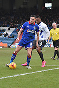 Oldham Athletic Midfielder, Mike Jones on the ball during the Sky Bet League 1 match between Oldham Athletic and Bury at Boundary Park, Oldham, England on 23 January 2016. Photo by Mark Pollitt.