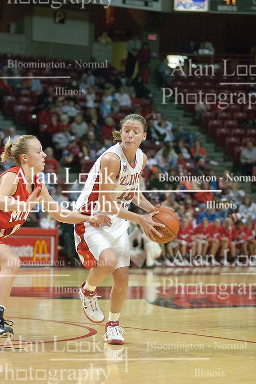 09 December 2006: Megan McCracken guarded by Jenna Schone. In a non-conference game, the Redhawks of Miami (Ohio) were defeated by the Redbirds at Redbird Arena in Normal Illinois on the campus of Illinois State University.<br />