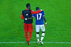 LIVERPOOL, ENGLAND - Monday, December 19, 2016: Liverpool's goal-scorer Sadio Mane with Everton's Idriss Gueye after the FA Premier League match, the 227th Merseyside Derby, at Goodison Park. (Pic by Gavin Trafford/Propaganda)