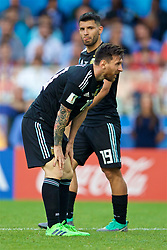 MOSCOW, RUSSIA - Saturday, June 16, 2018: Argentina's Lionel Messi looks dejected, as Sergio Aguero looks on, during the FIFA World Cup Russia 2018 Group D match between Argentina and Iceland at the Spartak Stadium. Messi missed a penalty in a game that finished in a 1-1 draw. (Pic by David Rawcliffe/Propaganda)