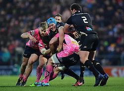 Julien Bardy of Montpellier tackles Don Armand of Exeter Chiefs - Mandatory by-line: Alex Davidson/JMP - 13/01/2018 - RUGBY - Sandy Park Stadium - Exeter, England - Exeter Chiefs v Montpellier - European Rugby Champions Cup