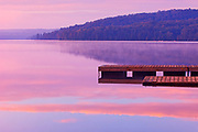 Dock and fog on Lake of Two Rivers<br />