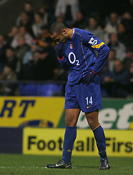 BOLTON, ENGLAND - SATURDAY JANUARY 15th 2005: Arsenal's Thierry Henry looks dejected after losing 1-0 to Bolton during the Premiership match at the Reebok Stadium. (Pic by David Rawcliffe/Propaganda)