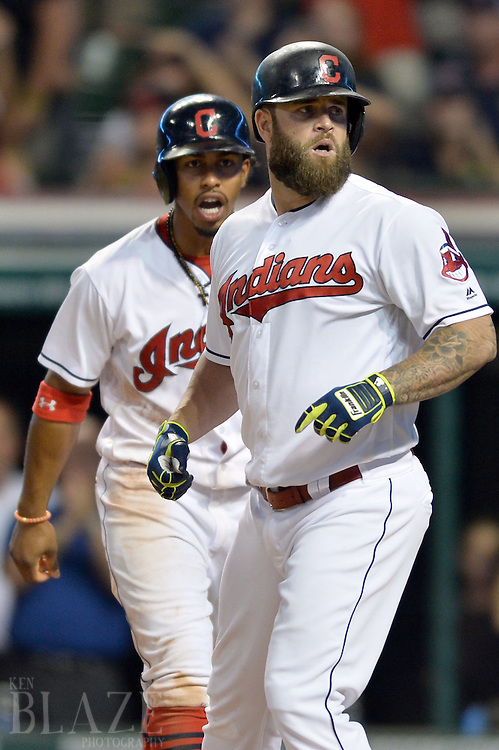 Aug 2, 2016; Cleveland, OH, USA; Cleveland Indians first baseman Mike Napoli (26) and shortstop Francisco Lindor (12) celebrate after Napoli's two-run home run during the fifth inning against the Minnesota Twins at Progressive Field. Mandatory Credit: Ken Blaze-USA TODAY Sports