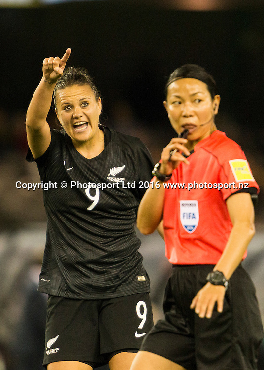 Amber Hearn points to the big screen as she shouts at the ref during during the Australia Matildas vs New Zealand Football Ferns womens football international at Etihad stadium Melbourne Australia on the the 7th of June 2016. Brendon Ratnayake / www.photosport.nz