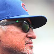 Manager Joe Maddon, Chicago Cubs, watching from the dugout during the New York Mets Vs Chicago Cubs MLB regular season baseball game at Citi Field, Queens, New York. USA. 2nd July 2015. Photo Tim Clayton