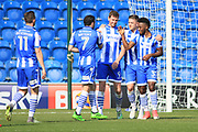 Colchester players celebrate the second own goal scored by Stevenage to make it 4-0 to Colchester during the EFL Sky Bet League 2 match between Colchester United and Stevenage at the Weston Homes Community Stadium, Colchester, England on 8 April 2017. Photo by Nigel Cole.