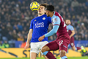Caglar Soyuncu (4) & Sebastien Haller (22) go for the ball during the Premier League match between Leicester City and West Ham United at the King Power Stadium, Leicester, England on 22 January 2020.