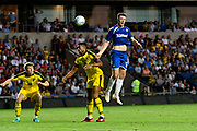 Ryan Edmondson (53) of Leeds United heads the ball during the Pre-Season Friendly match between Oxford United and Leeds United at the Kassam Stadium, Oxford, England on 24 July 2018. Picture by Graham Hunt.
