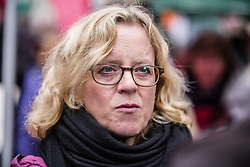 October 3, 2018 - Munich, Bavaria, Germany - Natascha Kohnen of the SPD.  Despite unstable weather, over 40,000 Bavarian citizens, politicians, and activists assembled at Munich's famed Odeonsplatz to demonstrate against the Politik der Angst (politics of fear) in the last days before the Bavarian state elections.  The demonstration is the latest in a series of demonstrations protesting against the Polizeiaufgabengesetz (Police Assignment Laws) which critics maintain are undemocratic power grabs by the CSU party and police and designed to limit civil rights and press freedom.  Under these laws, anyone may be detained, without charge, indefinitely.  The CSU maintains these laws will save lives.  Furthermore, the groups also are protesting against increasingly racist and xenophobic CSU and AfD politics directed not only at refugees, but at foreigners and non-whites in Germany.  It is expected that the CSU will lose their absolute majority in the Bavarian Landtag, which will be made up by them likely assembling a coalition with the extreme-right Alternativ fuer Deutschland party. (Credit Image: © Sachelle Babbar/ZUMA Wire)