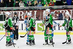 Players shaking hands during ice-hockey match between HDD Tilia Olimpija and EHC Liwest Black Wings Linz in 51st Round of EBEL league, on Februar 5, 2012 at Hala Tivoli, Ljubljana, Slovenia. (Photo By Matic Klansek Velej / Sportida)