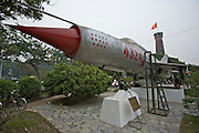 Army Museum. Soviet-built MIG-21 fighter jet having shot down 14 American war planes during Vietnam war.