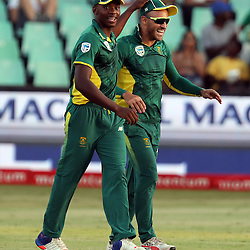 Kagiso Rabada of the (South African Proteas) with Faf du Plessis of the (South African Proteas) during the 2nd ODI Momentum One-Day International (ODI) series South African and Sri Lanka at Kingsmead, Durban, South Africa.1st February 2017 - (Photo by Steve Haag)